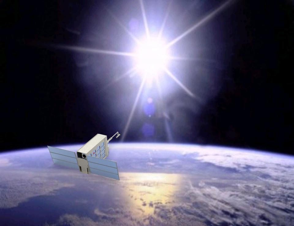 An artist rendering of an Air Force satellite designed at ASU.