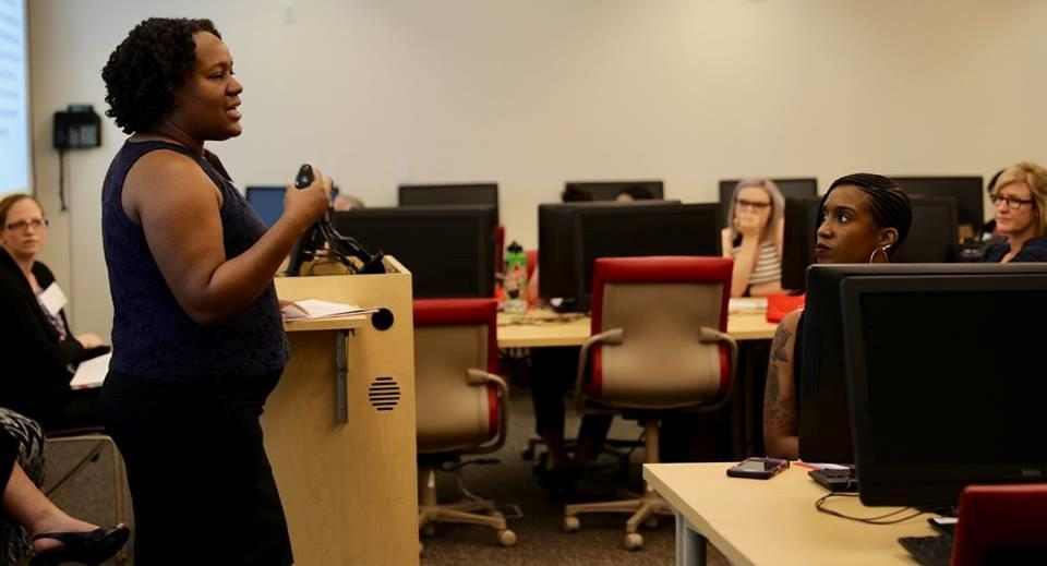 ASU professor Sybil Durand presents at the YA Summer 2018 / Photo by Noah Schaffer