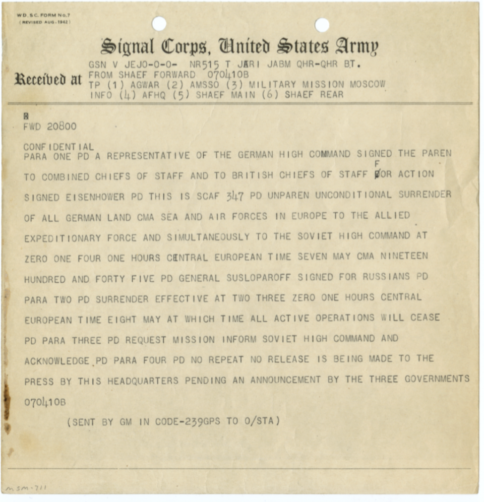 Telegram that announced the end of WWII in Europe