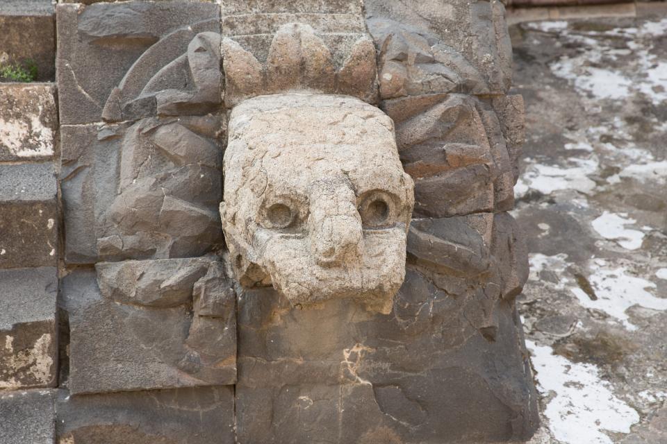 Serpent detail at a pyramid at Teotihuacan