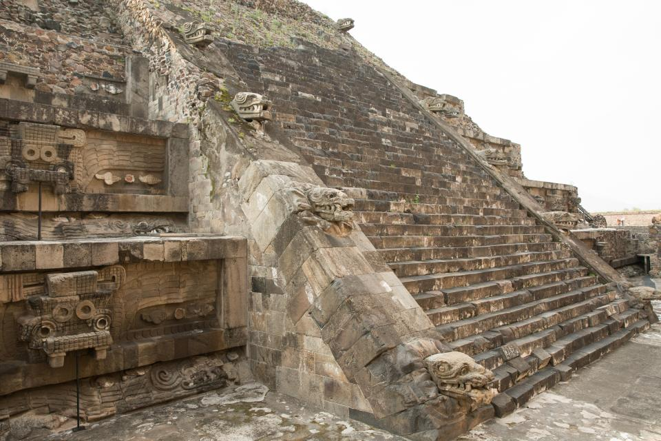 Details on a pyramid at Teotihuacan in Mexico