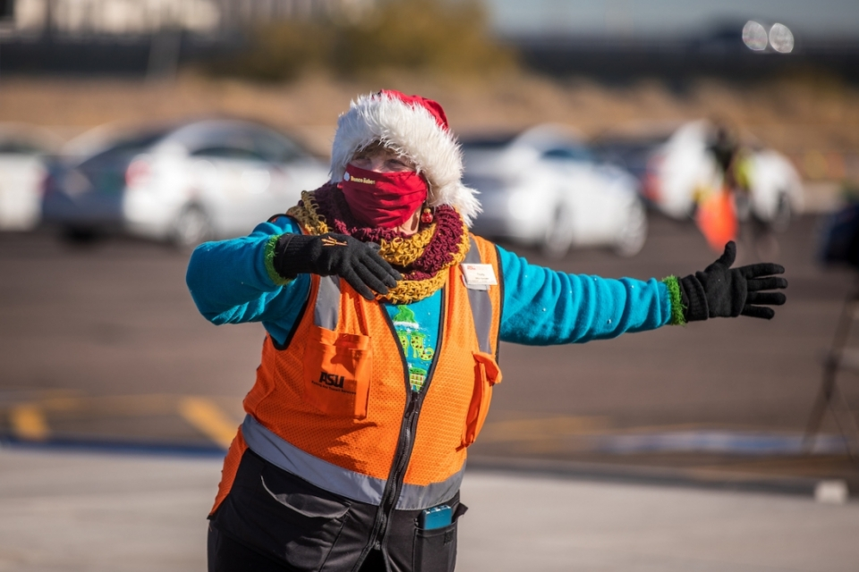 Woman directing traffic