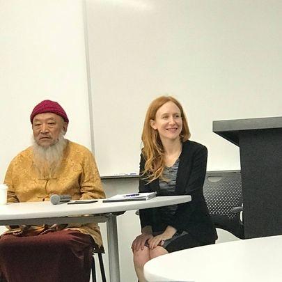 photo of Vanessa Kubota and Tibetan Lama