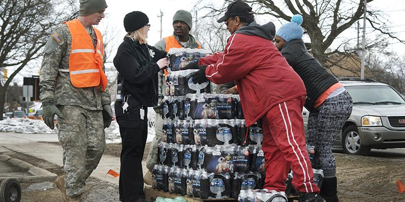 The National Guard distributes water in Flint, Michigan