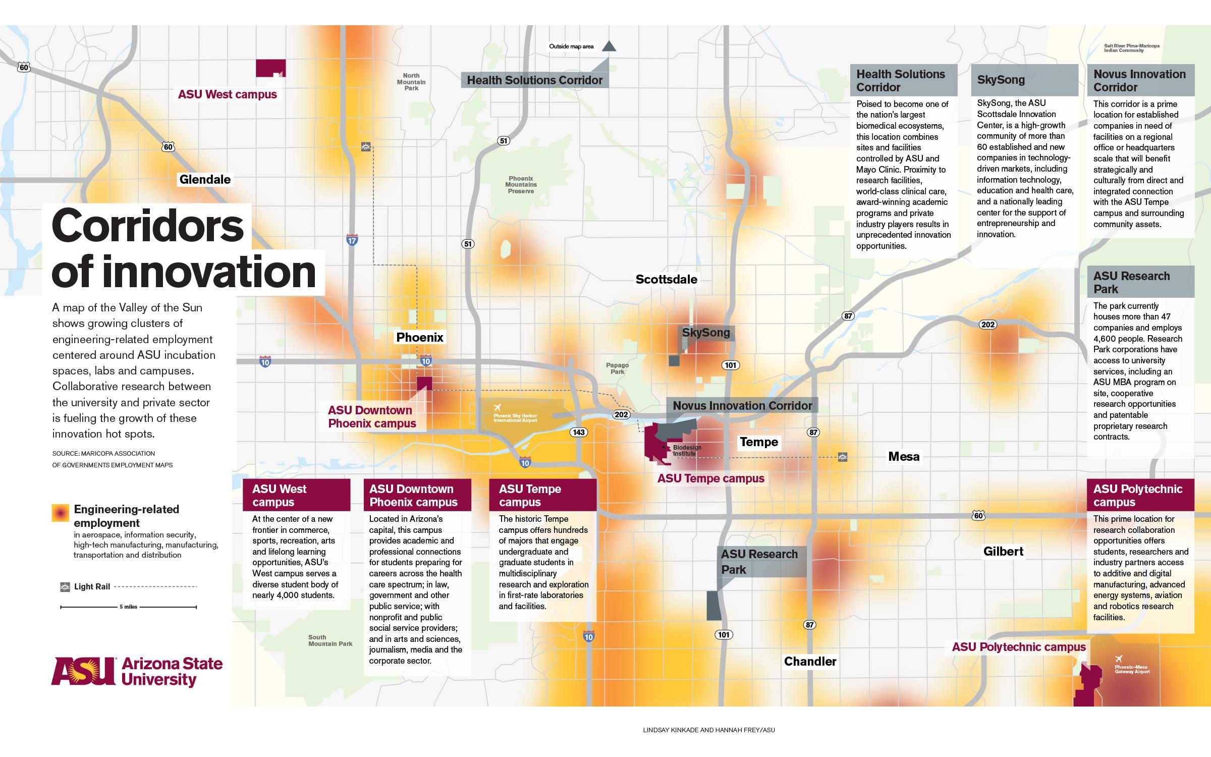 A map of Phoenix showing concentrations of innovation