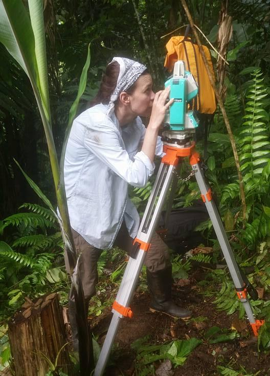 photo of Kristin Keckler-Alexander at a total station