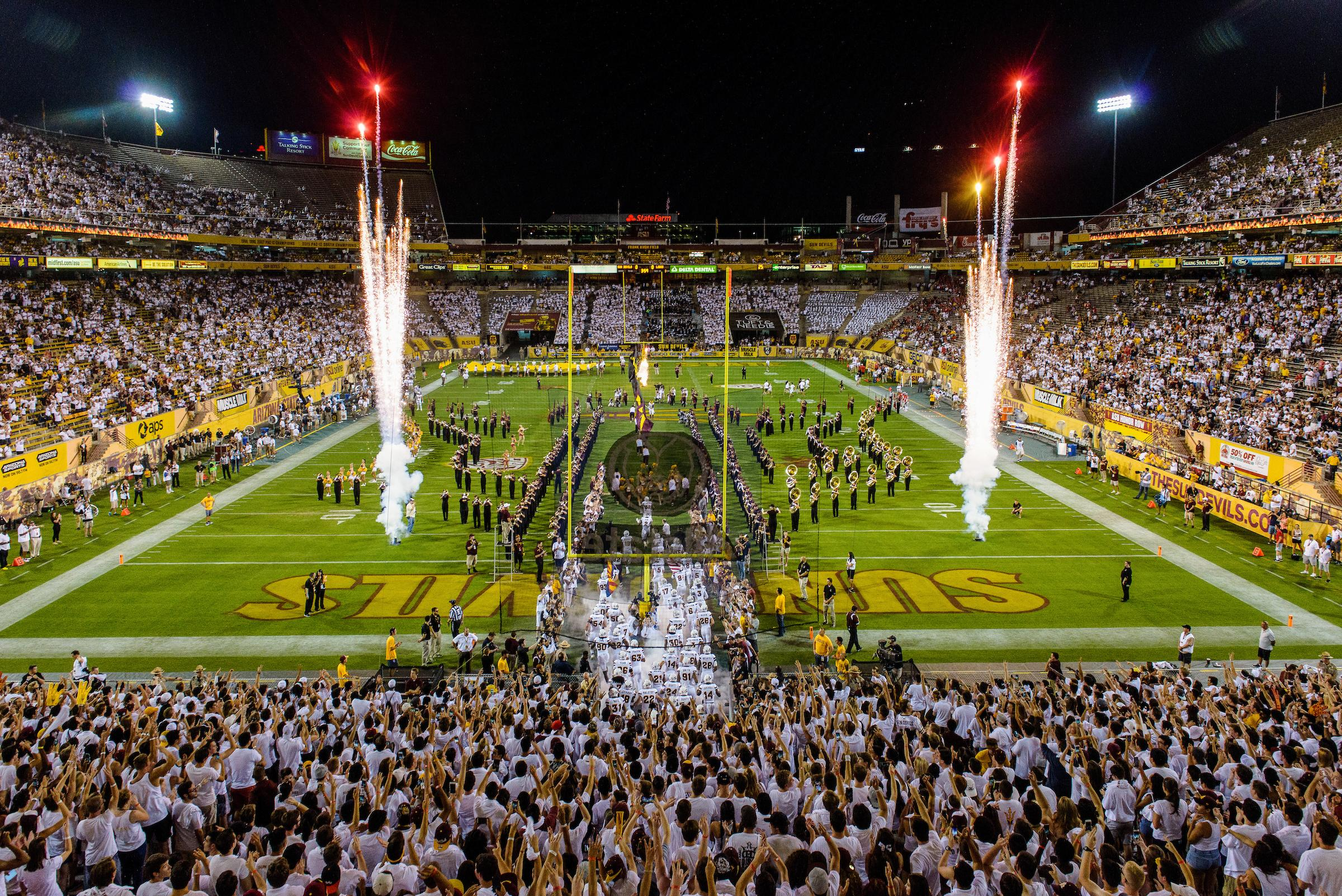 photo of fireworks during ASU football game