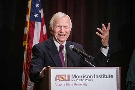 Former ASU President Lattie Coor speaks at the State of Our State conference