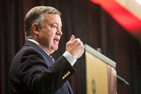 ASU President Michael Crow speaks at the State of Our State conference
