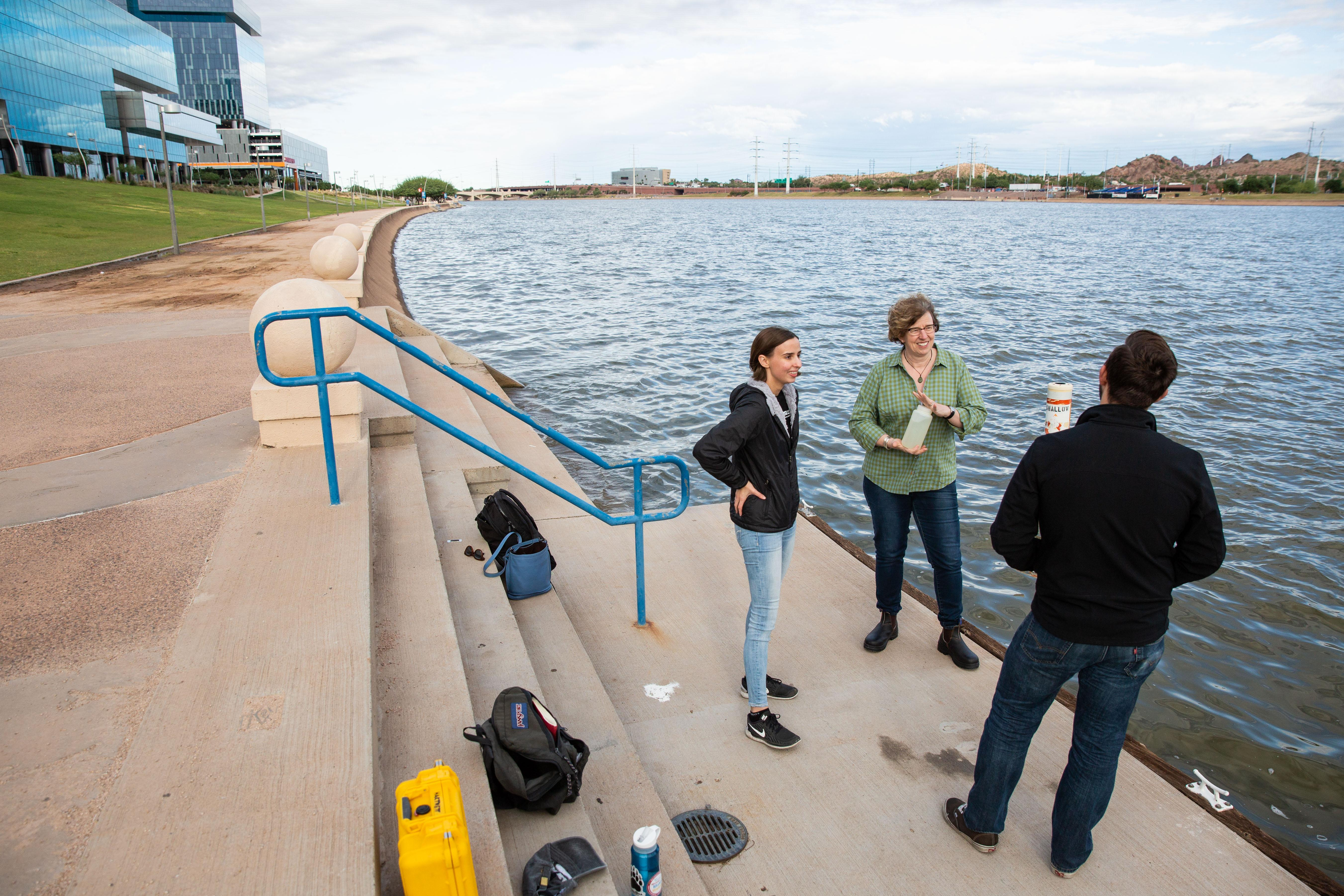 Hilairy measures Tempe Town Lake