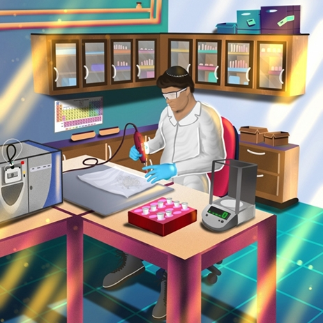 illustration of man working in lab