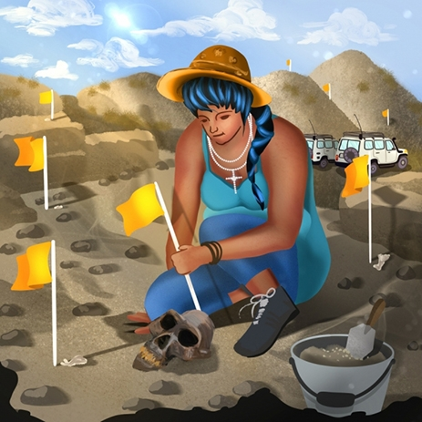 woman marking dig site with flags