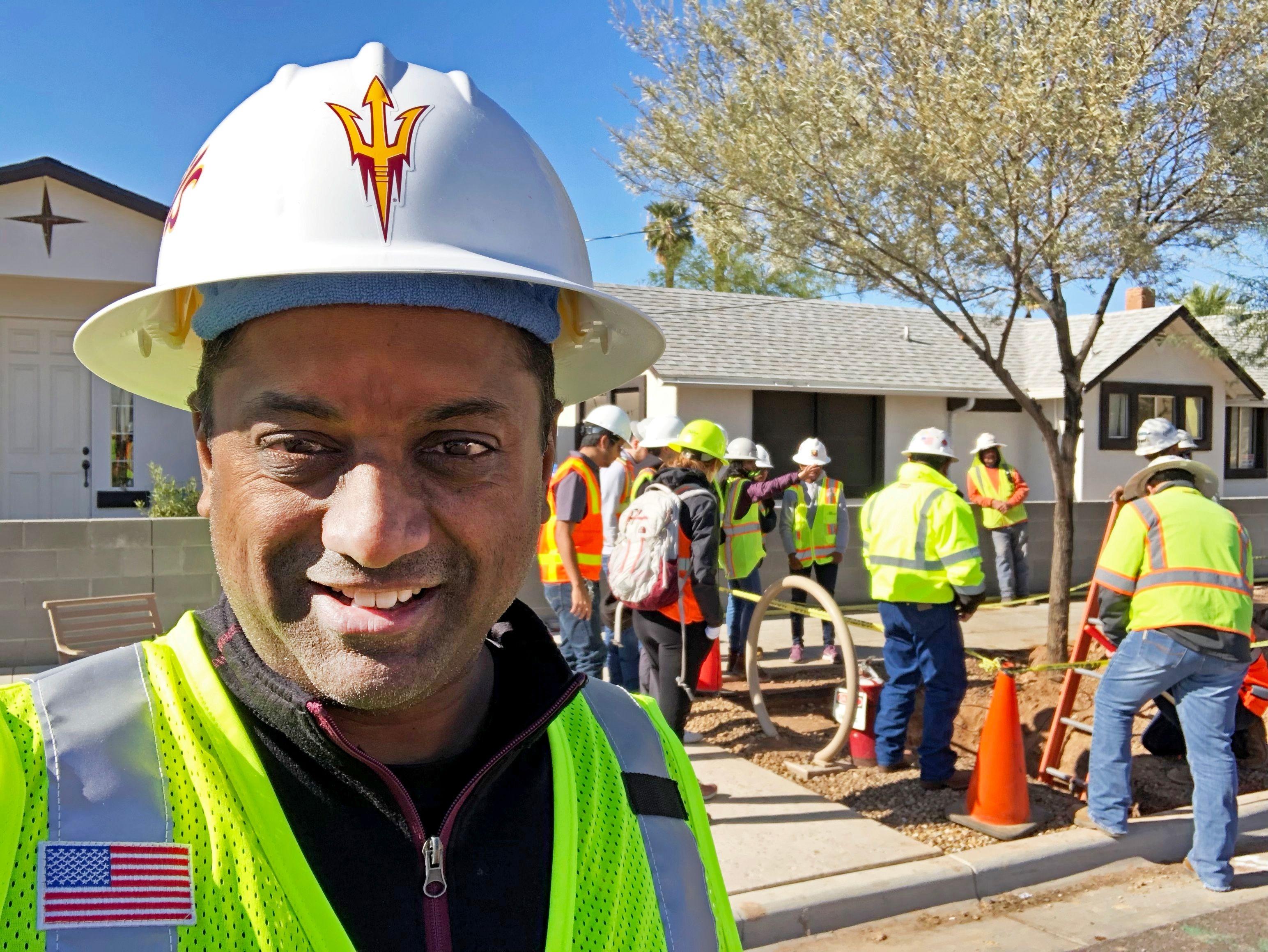 ASU engineering professor Samual Ariaratnam at construction site