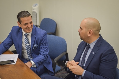 Marcelino Quiñonez and Matthew Sotelo at a Males in Higher Education meeting