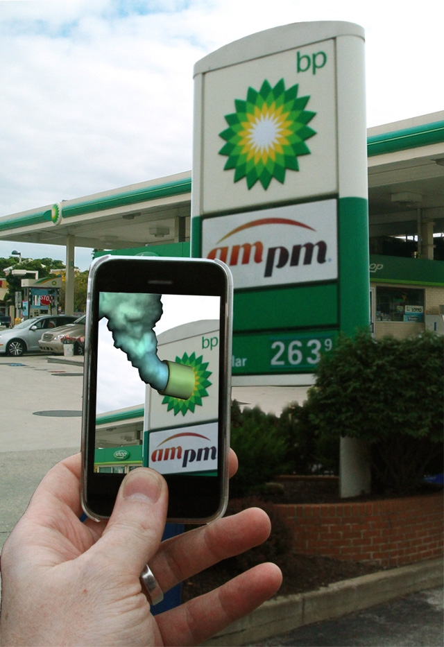 """Photo of Mark Skwarek's augmented reality art project """"The Leak in Your Hometown."""" / Photo courtesy Jake Greene, with permission from the artist"""