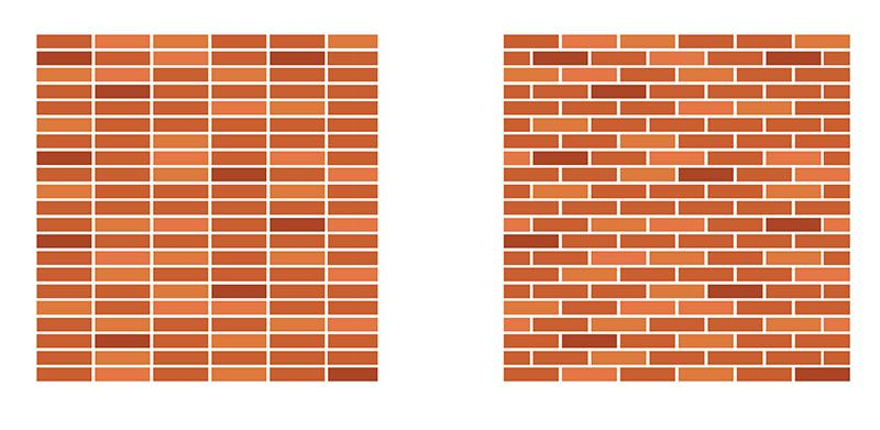 Brick walls are stronger with stagger bricks compared to columns of bricks