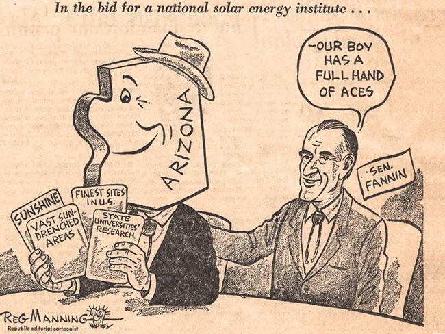 A cartoon depicting solar energy politics in Arizona.