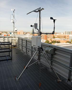 Weather-monitoring station on top of an ASU building in Tempe