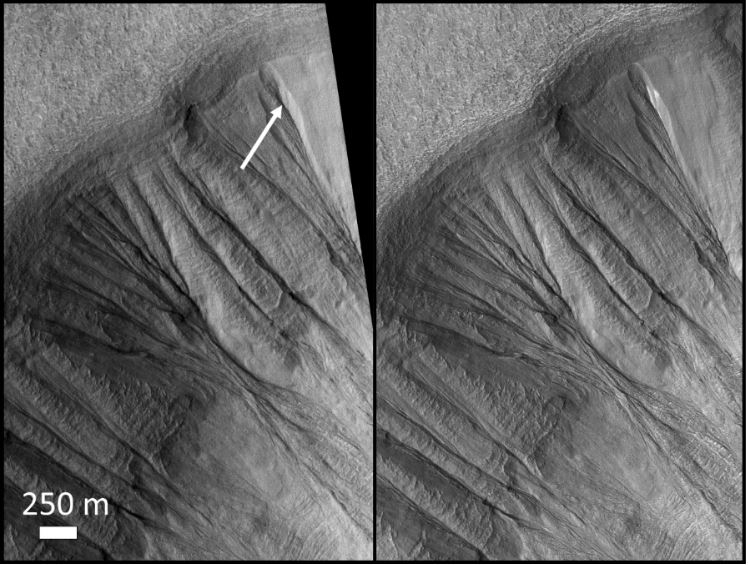 side by side comparison of a low-res image (left) and a high-res image (right) of snow and gullies on Mars