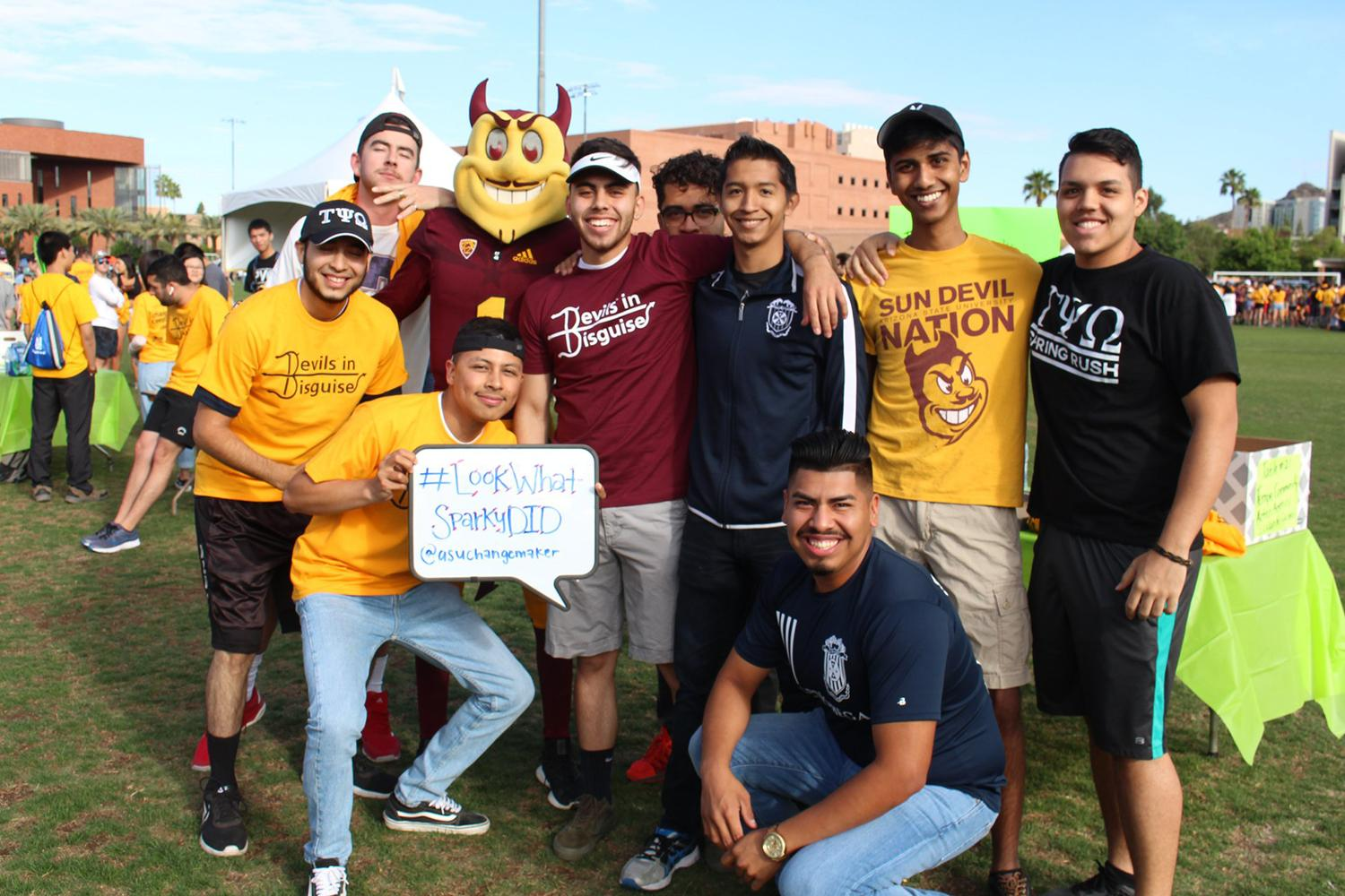 Students with Sparky at Devils in Disguise 2019
