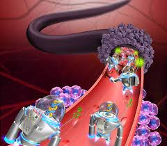 Cancer fighting nanobots work to choke off a tumor's blood supply