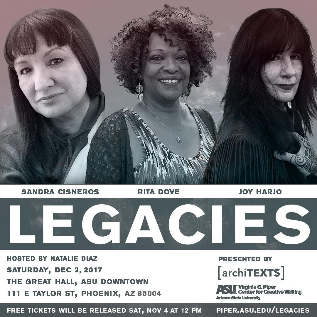 event flyer showing portraits of three women