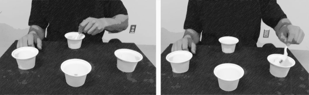 Two photos depicting a person scooping beans out of one of four cups and depositing them in another of the four cups.