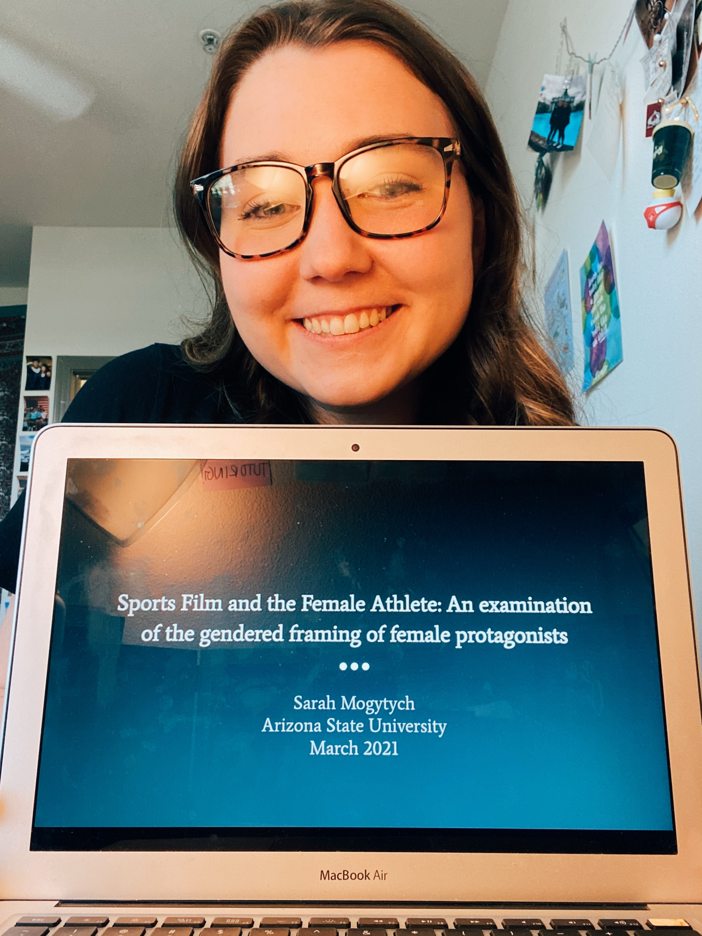 Sarah Moygtych and her honors thesis presentation