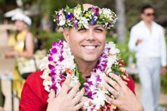 man in Hawaiian attire at wedding