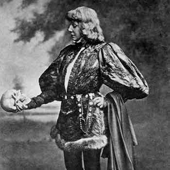 photo of actor as Hamlet holding a skull