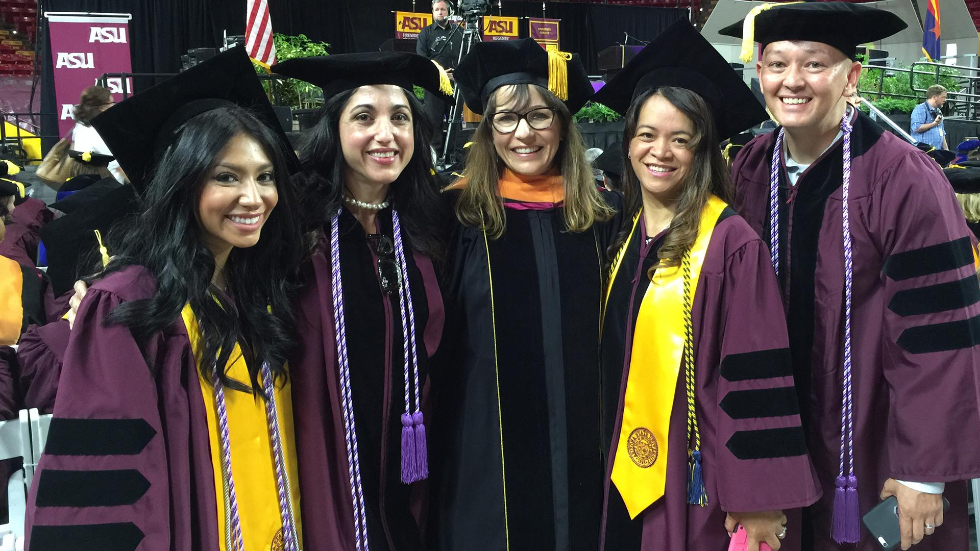 Heather Ross with DNP students at 2015 commencement.
