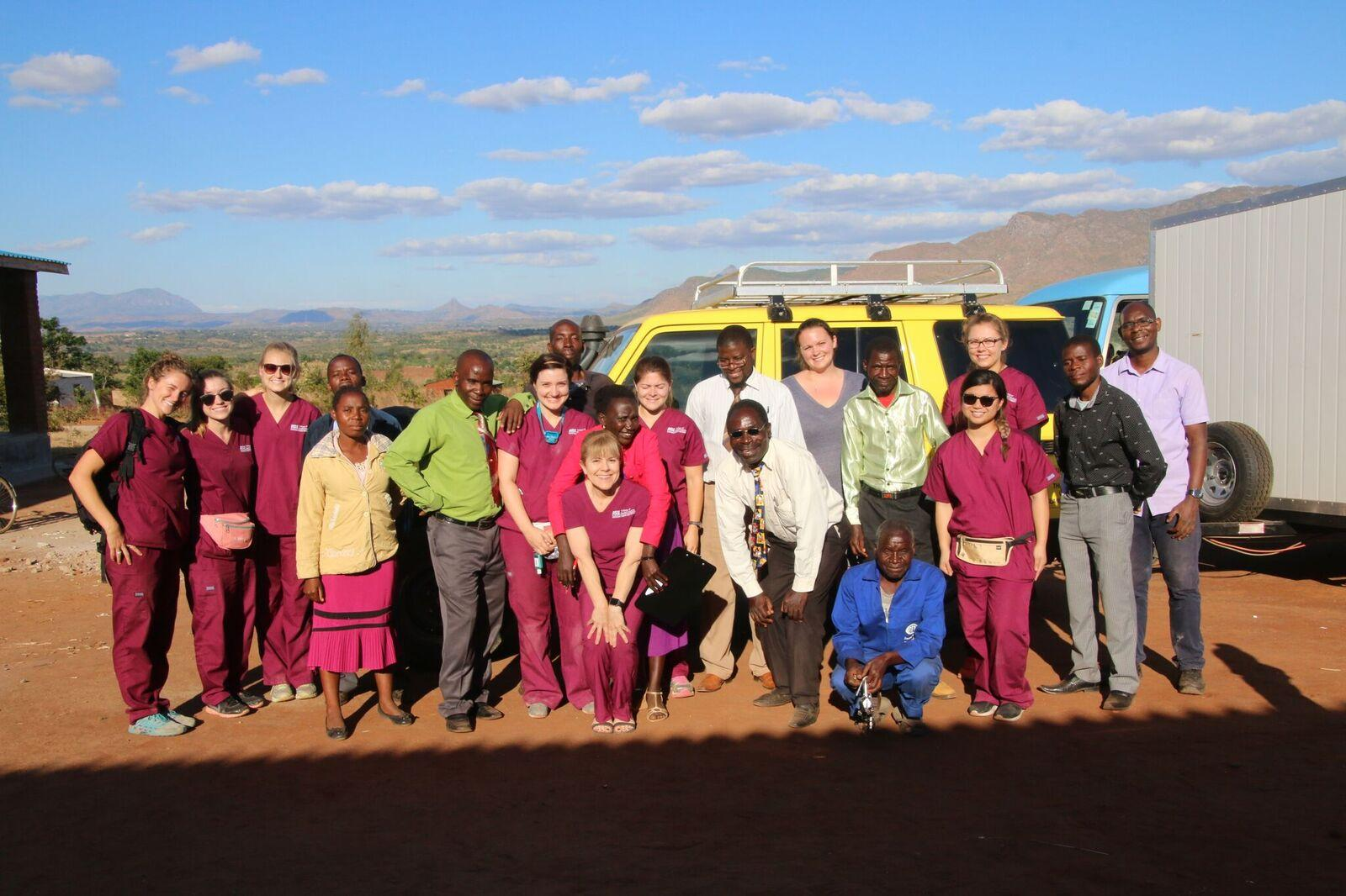 group shot of audiology specailists in Malawi