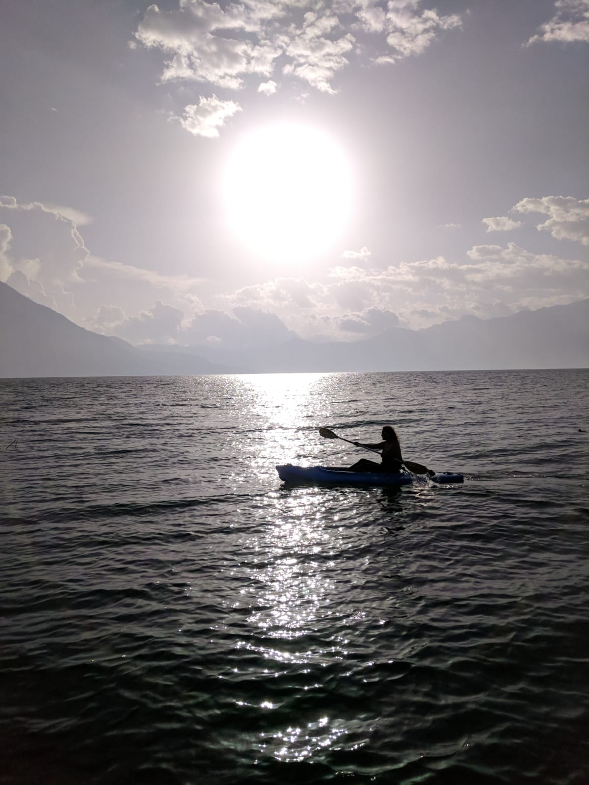 photo of Dreza kayaking on lake in Guatemala
