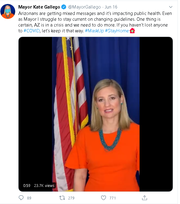 Tweet from the Phoenix Mayor