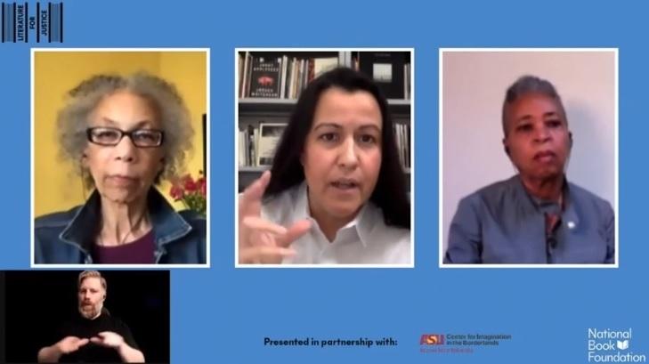 screenshot of three women talking on a virtual platform