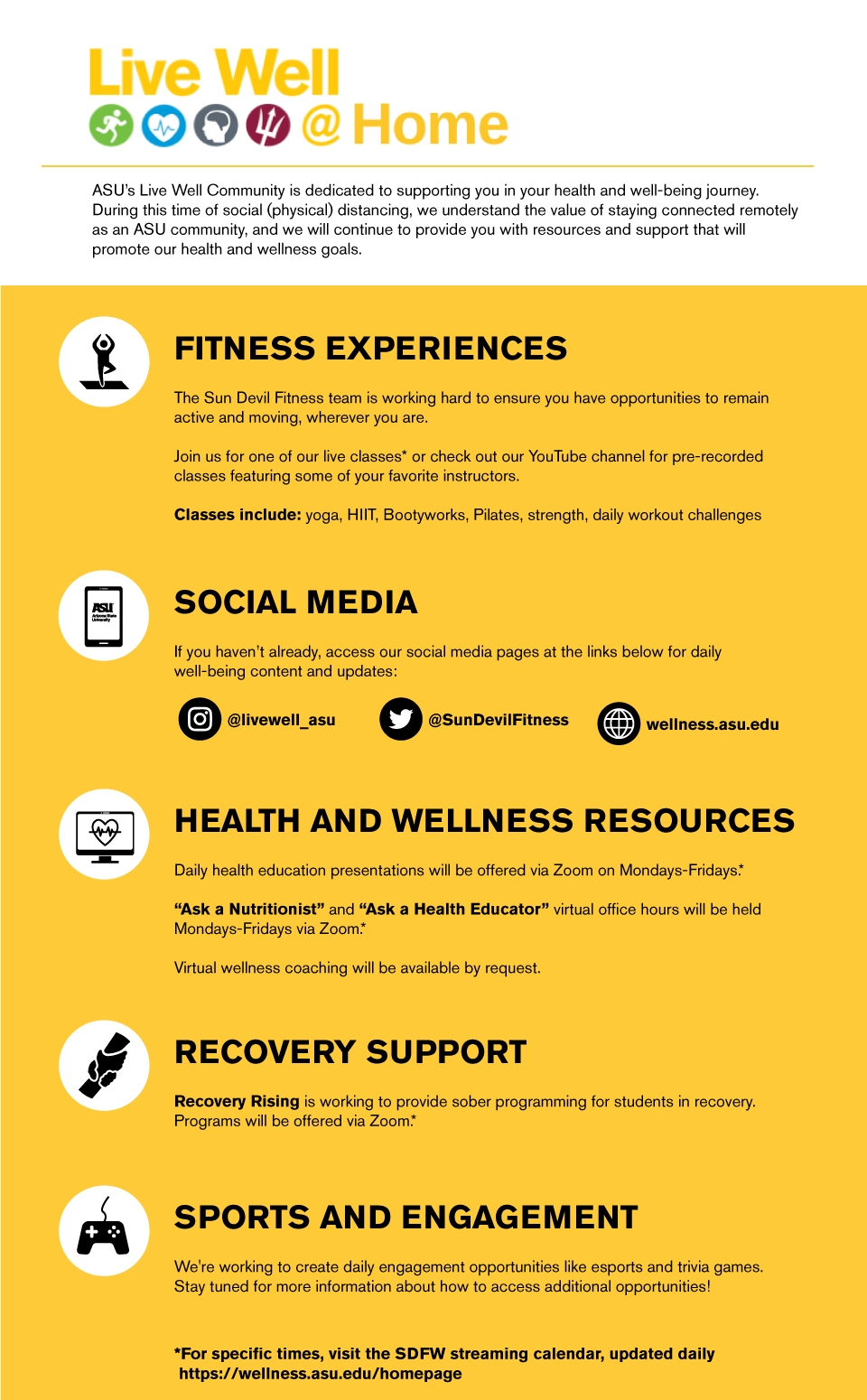 Live Well @ ASU resource graphic