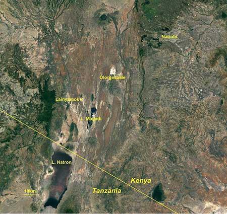 Map of Kenya, Lake Magadi location