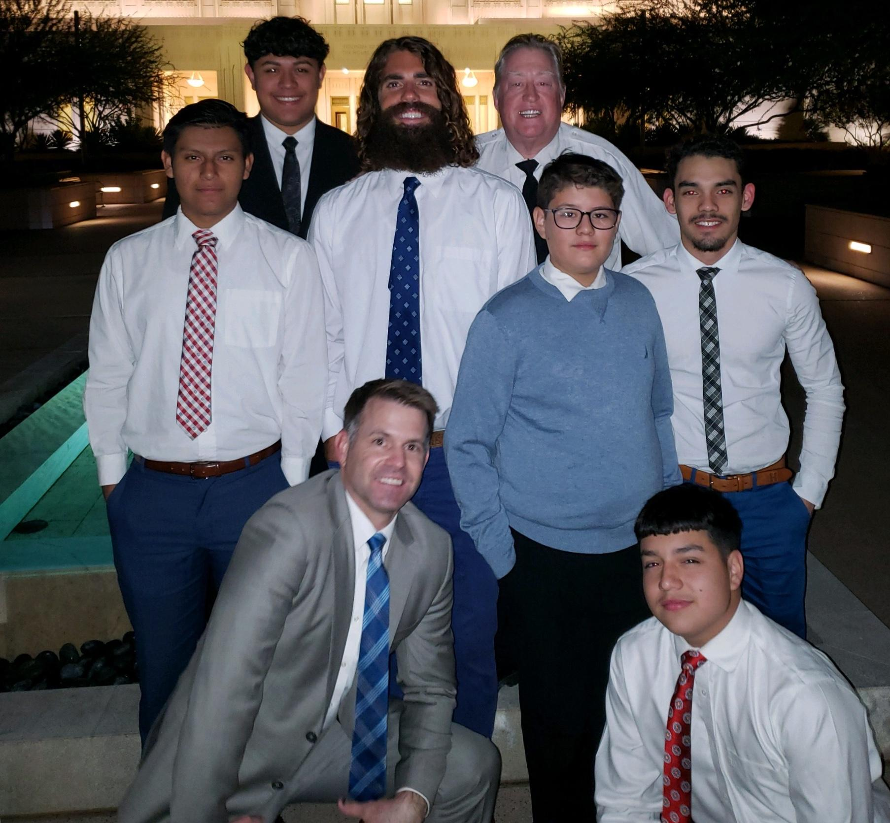 Picture of Matthew and 7 members of his mens group.