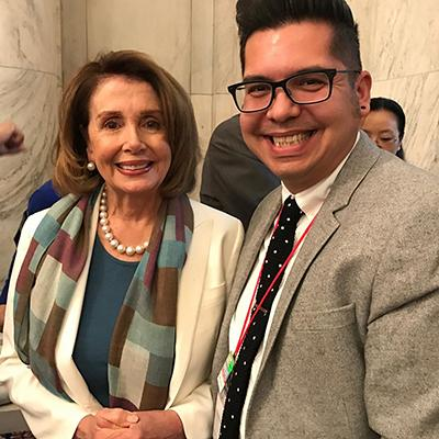 Nancy Pelosi and Matt Menchaca