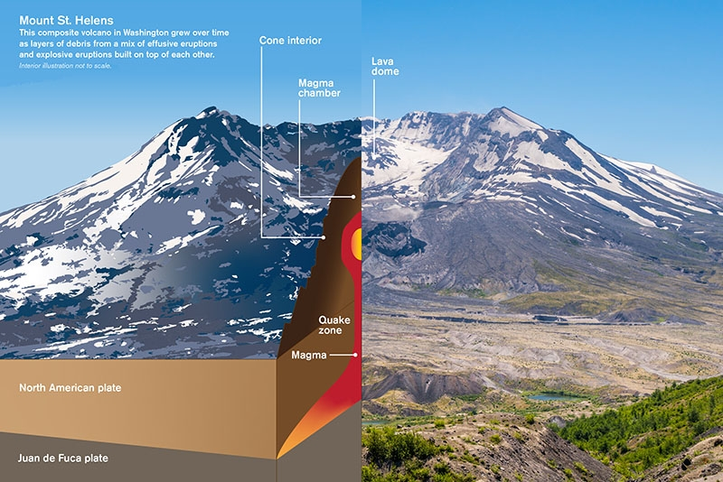 graphic of Mount St. Helens showing magma chamber and plates beneath