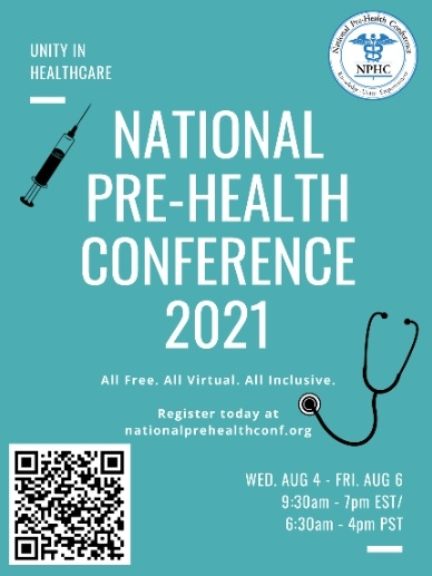 flyer advertising National Pre-Health Conference 2021