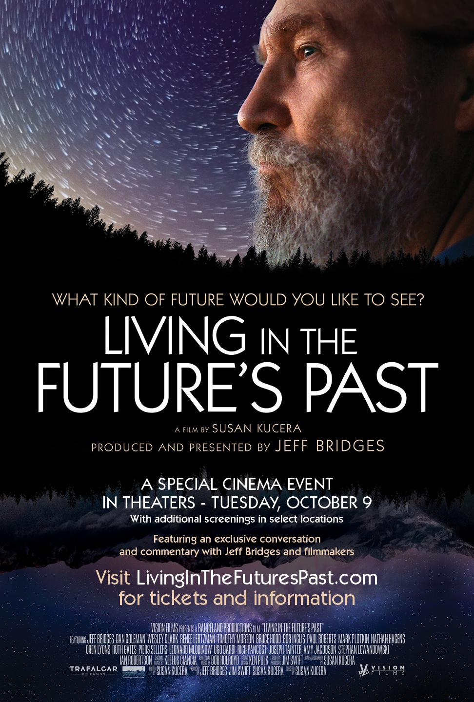 "publicity poster featuring Jeff Bridges for ""Living in the Future's Past"""