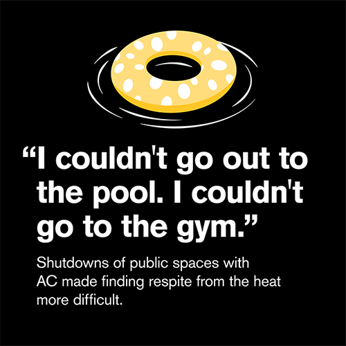 """""""I couldn't go out to the pool. I couldn't go out to the gym."""" Shutdowns of public spaces with AC made finding respite from the heat more difficult"""