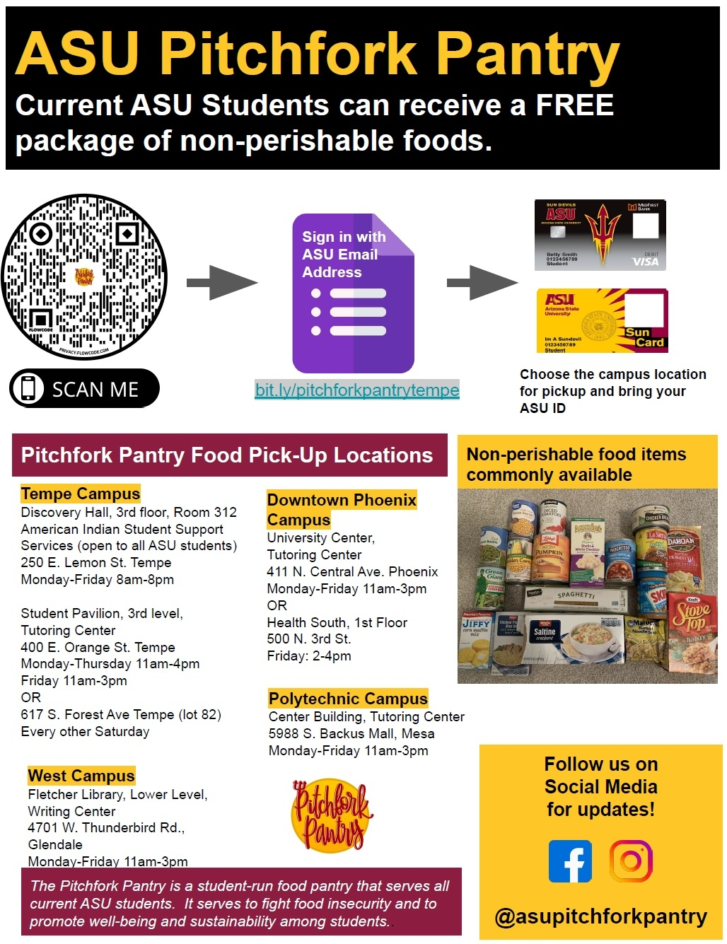 flyer listing locations and times of operation for ASU's Pitchfork Pantries