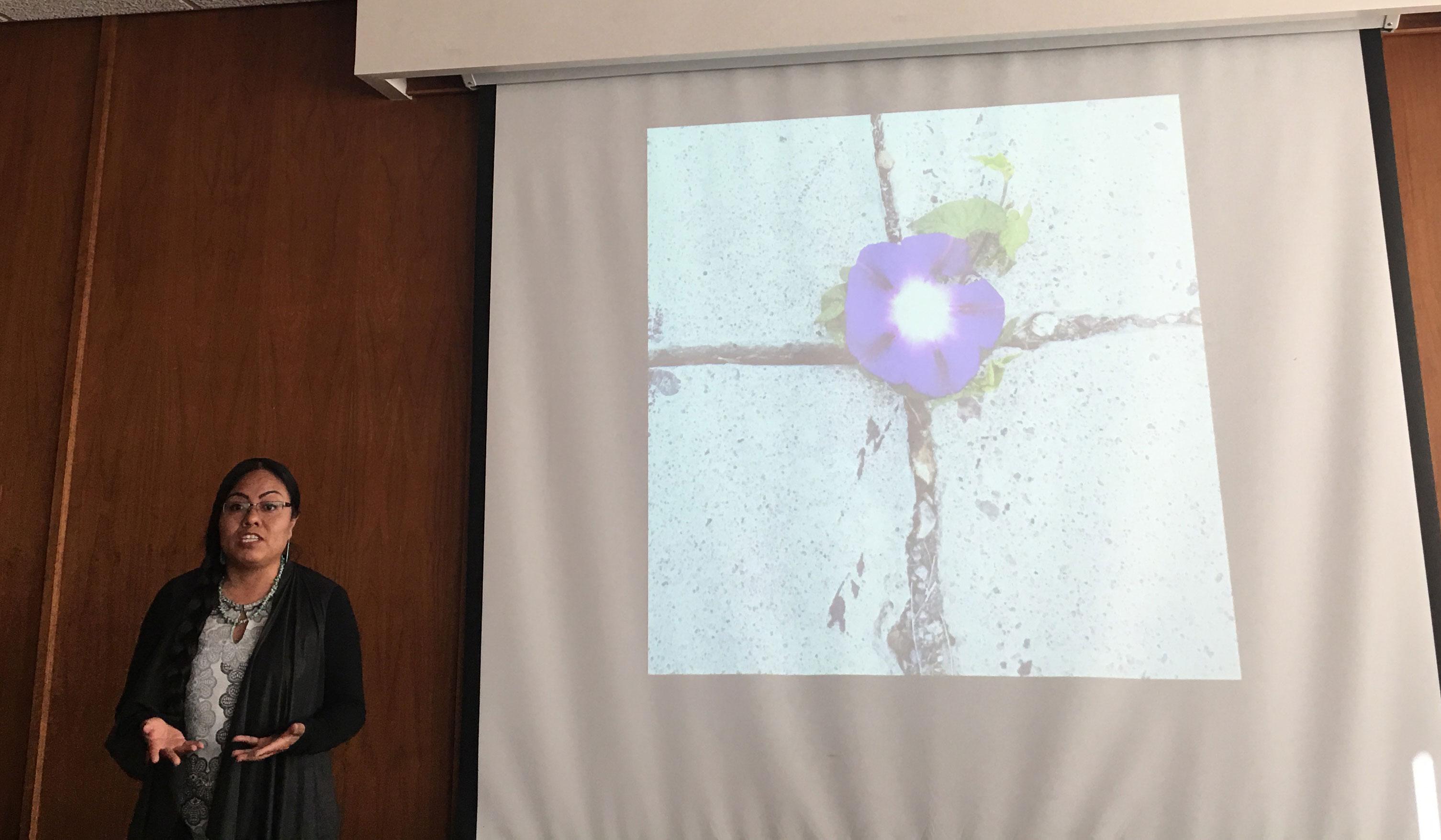 Rachell Tenorio presenting her thesis.
