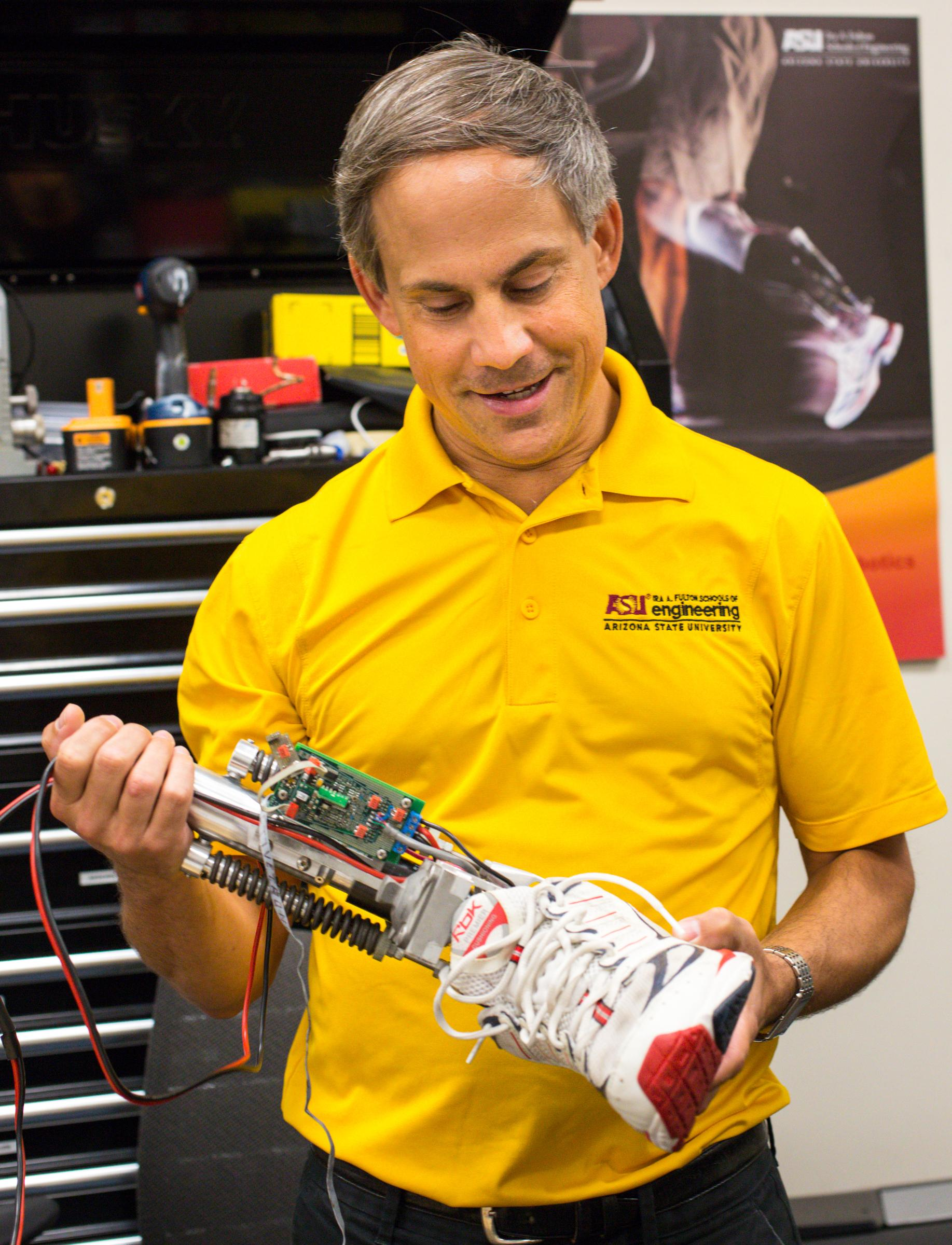 Mechanical engineering senior Eddie Fernandez runs with the Jet Pack.
