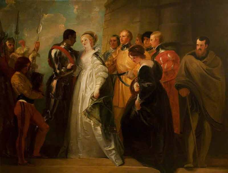 painting of a scene from Othello where he stands surrounded by other characters