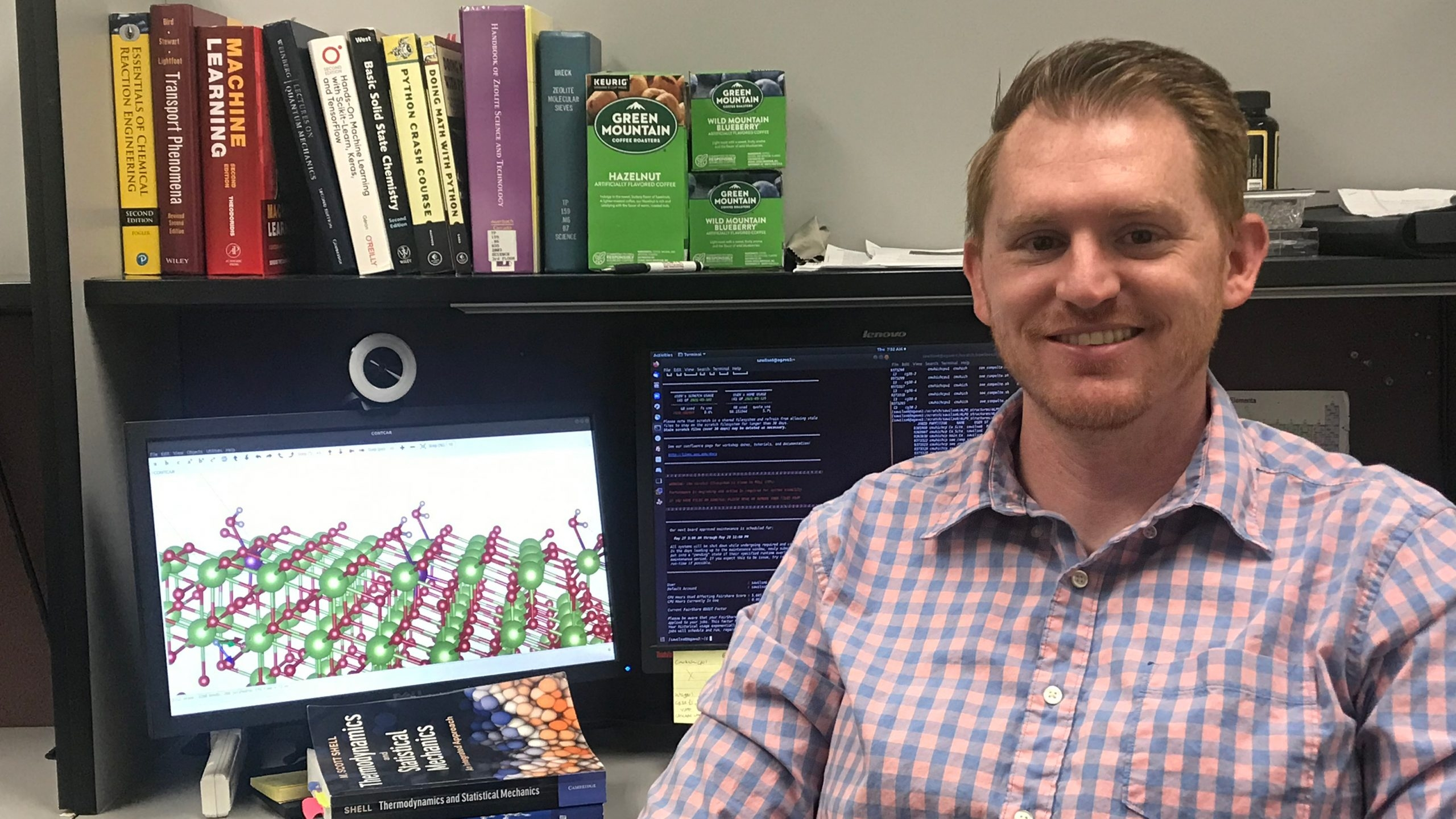 ASU chemical engineering doctoral student Steven Wilson with his computer