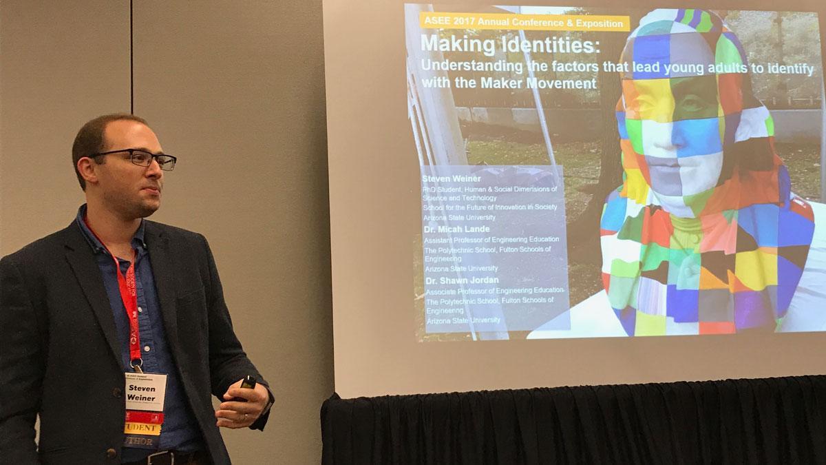 Steven Weiner giving a presentation on making