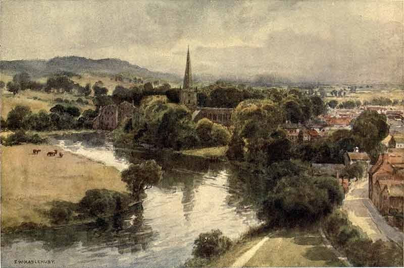 painting of Stratford on Avon with countryside in foreground